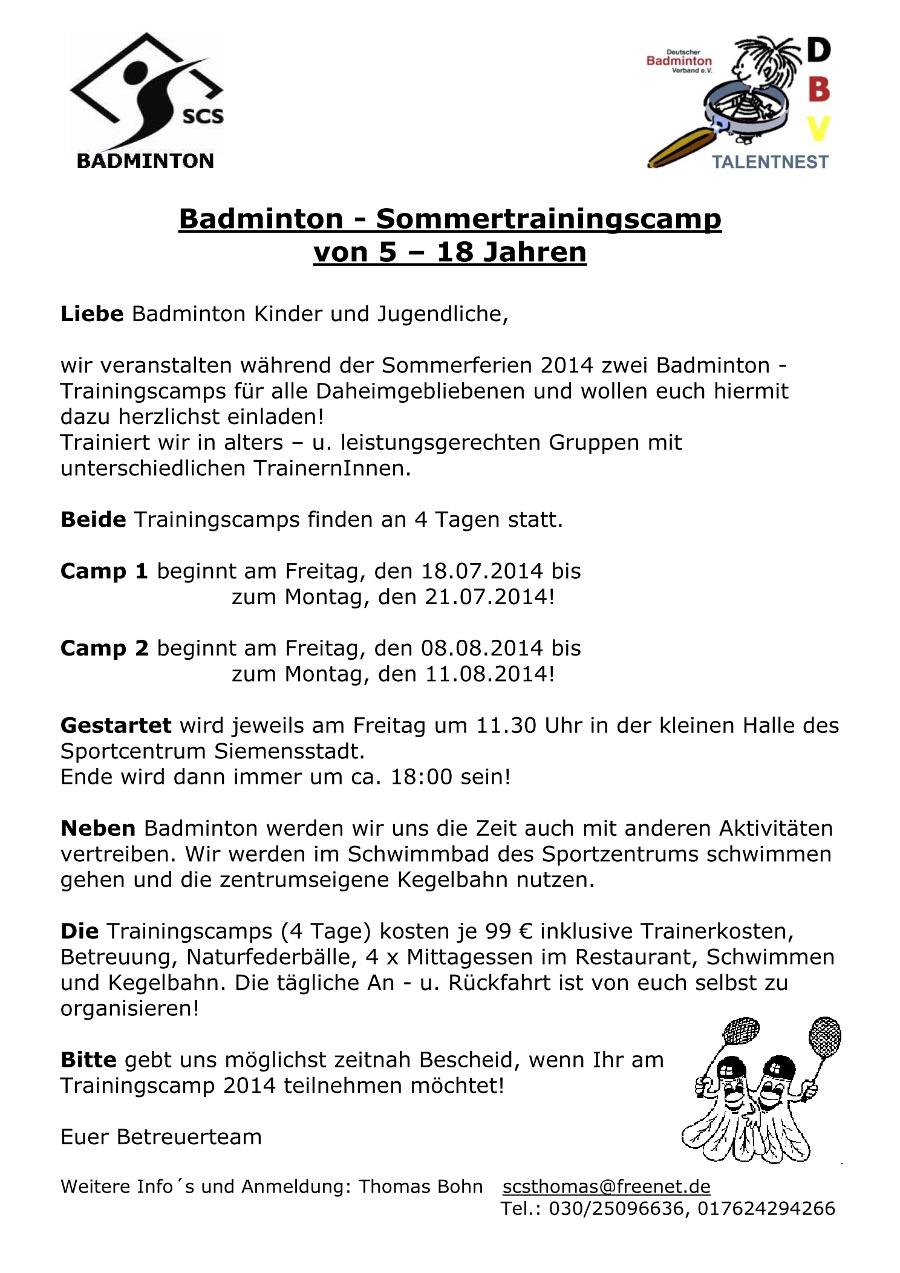Ausschreibung Sommertrainingscamp 2014