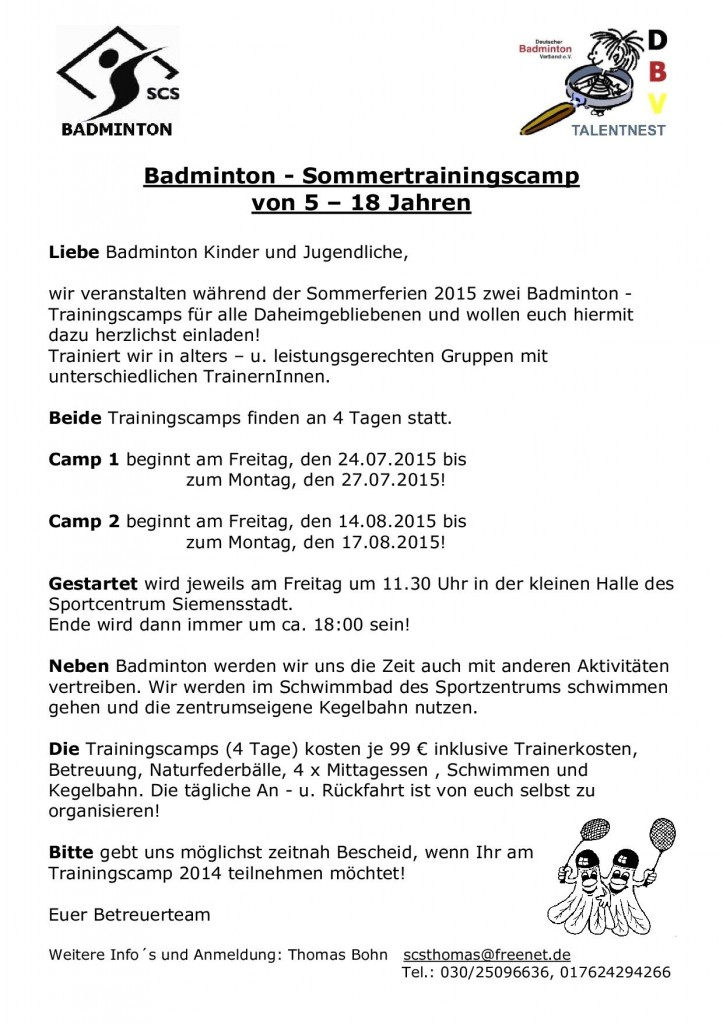 Trainingscamp 2015 Kinder Jugendliche
