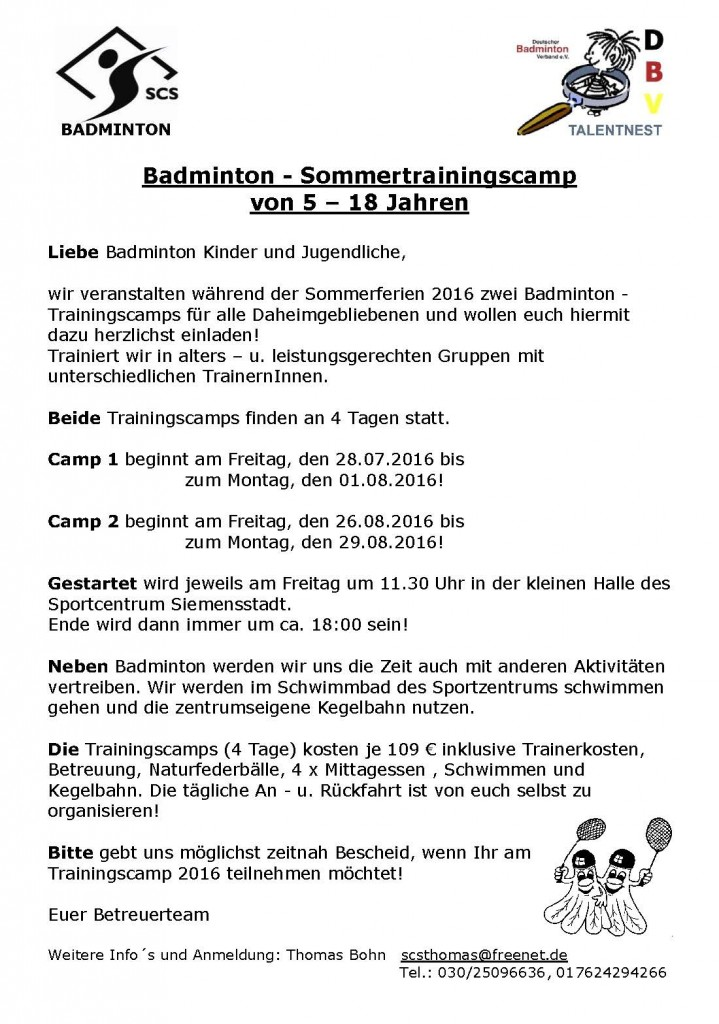 Trainingscamp 2016 Kinder Jugendliche